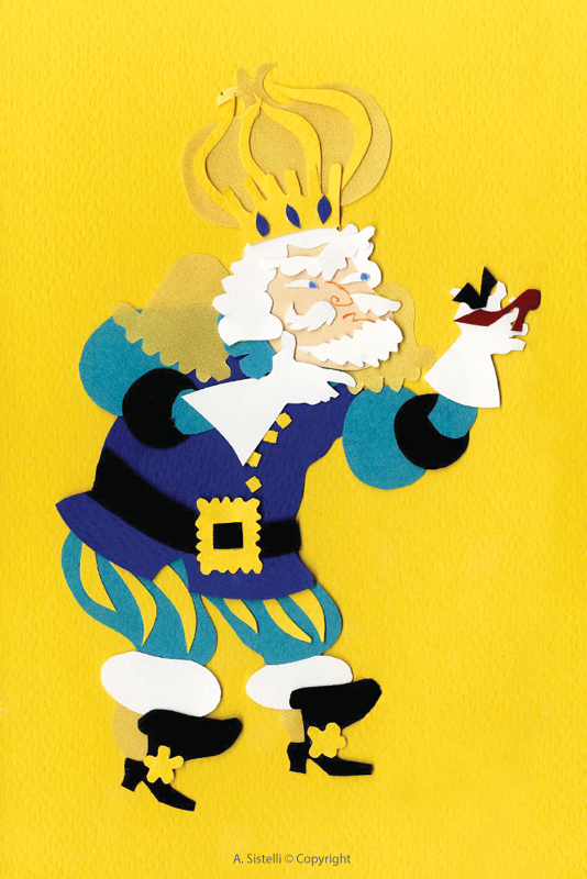 """Image en papier découpé coloré, le roi dans le conte """"les douze princesses"""""""